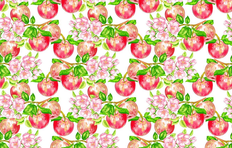 Фото обои цветы, узор, яблоки, плоды, фрукты
