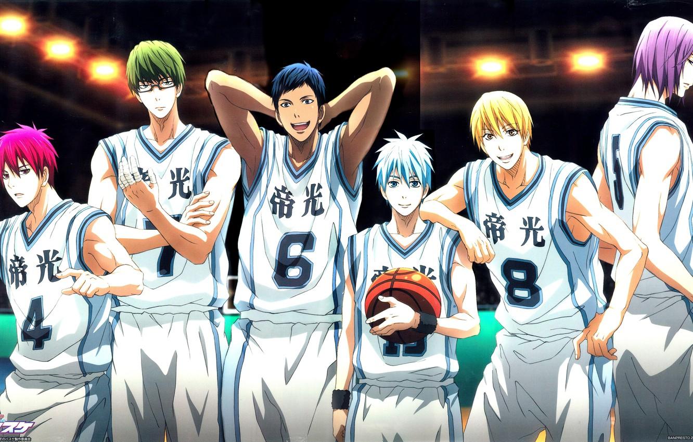 Фото обои улыбка, спорт, мяч, аниме, очки, команда, парни, Kise Ryouta, Kuroko Tetsuya, баскетбол куроко, Aomine Daiki, …