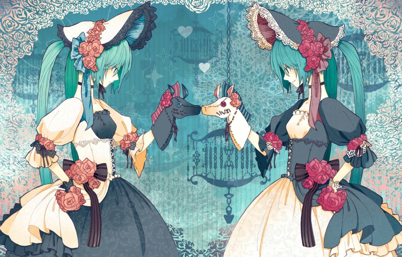 Фото обои розы, шляпы, лошадки, кринолин, Hatsune Miku?двое