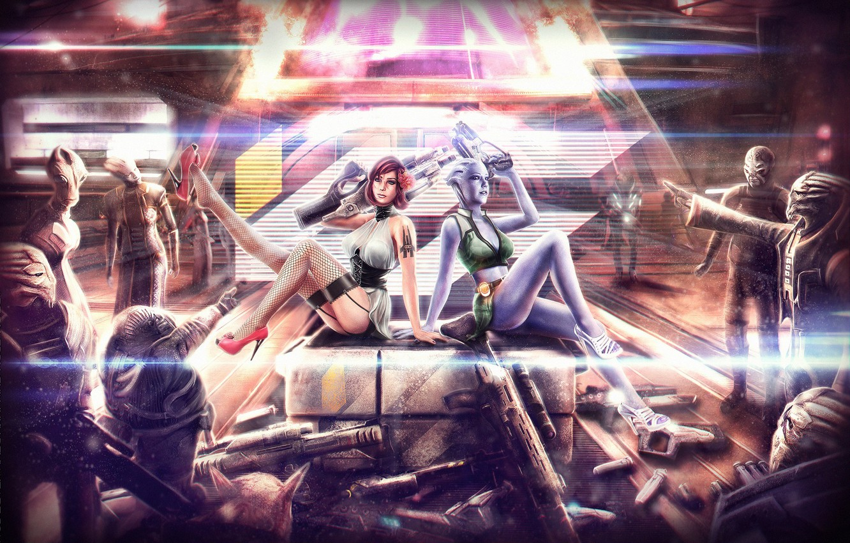Фото обои оружие, чулки, арт, туфли, команда, shepard, Mass Effect, шепард, азари, турианец, turians, liara, t'soni, asari, …