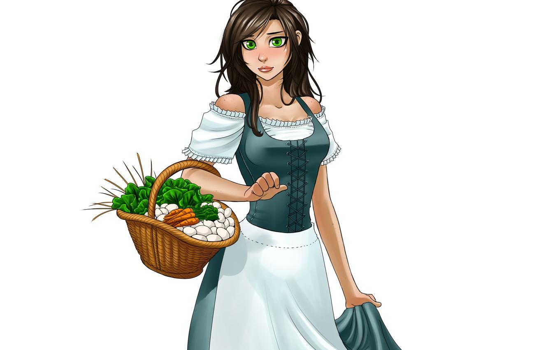 Фото обои девушка, корзина, платье, овощи, служанка, viviane