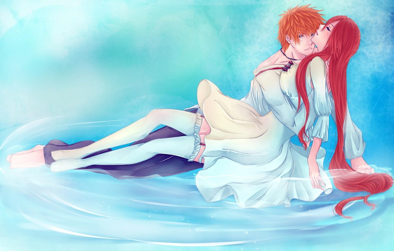 Фото обои вода, девушка, чулки, аниме, арт, пара, парень, bleach, kurosaki ichigo, inoue orihime, iwonn