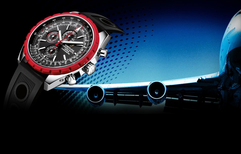 Фото обои Часы, самолёт, Breitling, Chrono-Matic