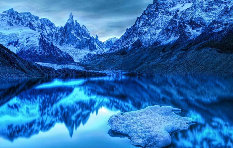 Фото обои холод, горы, синий, озеро