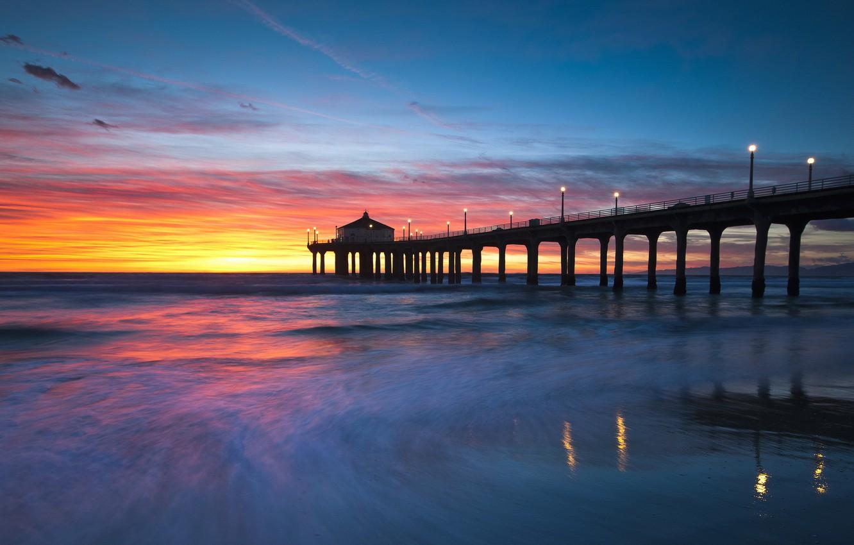 Фото обои пейзаж, закат, мост, United States, California, Manhattan Beach, Sand Section
