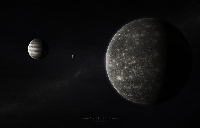 Фото обои юпитер, солнечная система, млечный путь, спутники, газовый гигант, каллисто