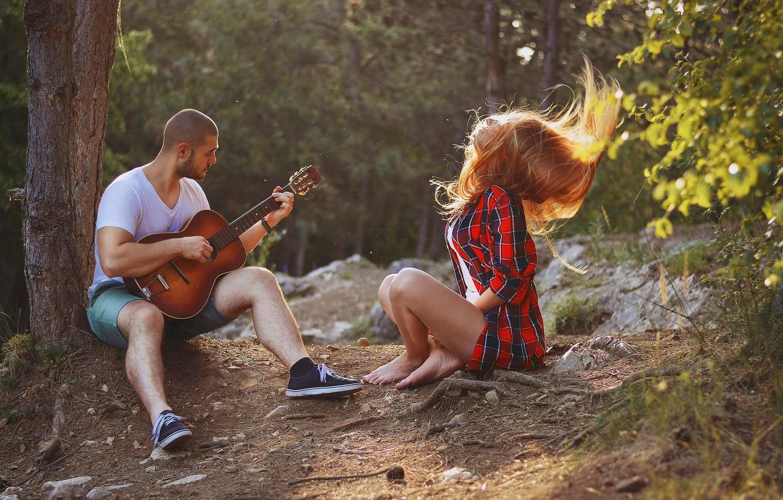 Фото обои девушка, гитара, парень, песня