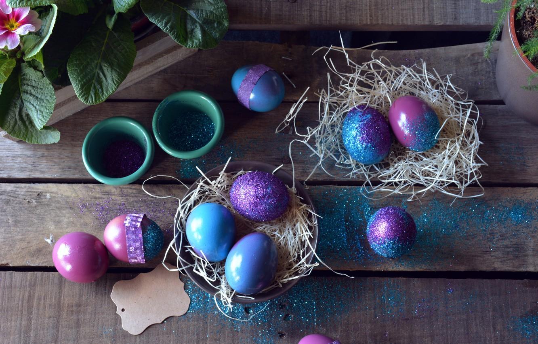 Фото обои праздник, доски, яйца, Пасха, сено, декор, Easter, гнёзда