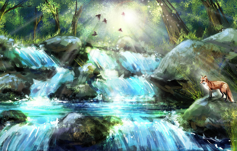 Кот и водопад картинка