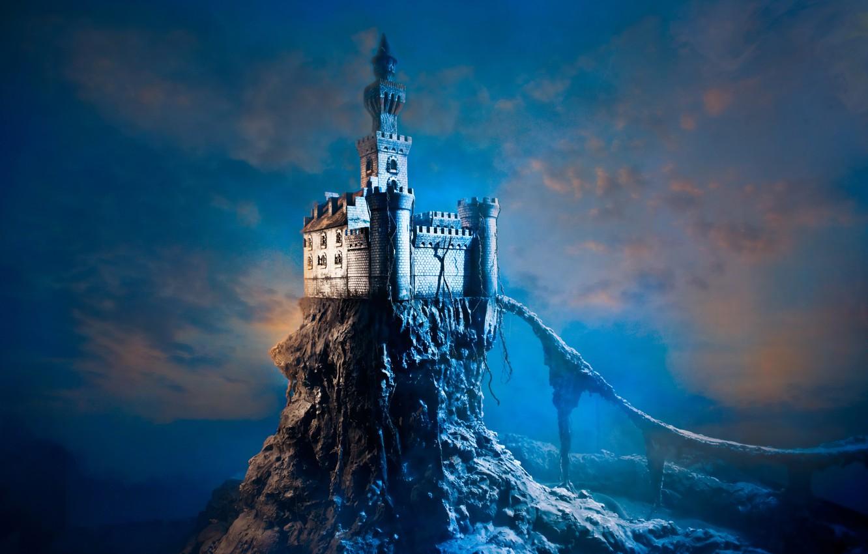 Фото обои небо, облака, скала, фантастика, башня, замон