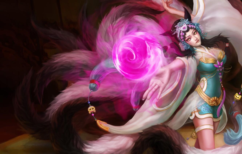Фото обои взгляд, девушка, магия, жест, ушки, art, лисица, league of legends, хвосты, ahri, yuto
