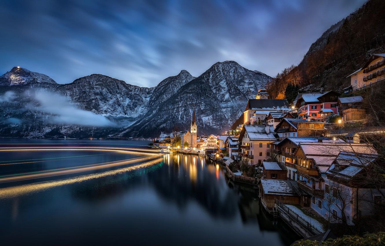 Обои австрия, дома, альпы, гальштат, hallstatt, austria. Города foto 12