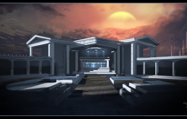 Фото обои небо, солнце, горы, здание, Architecture Study
