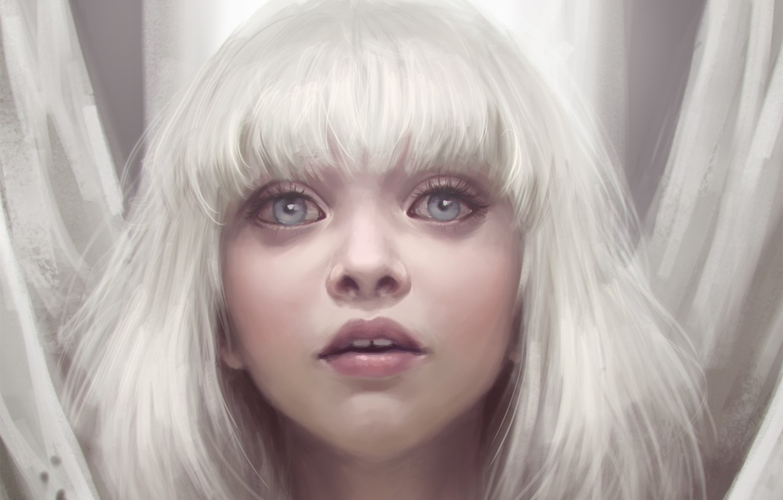 Фото обои глаза, взгляд, девушка, белые волосы, art, Maddie Ziegler, Sia