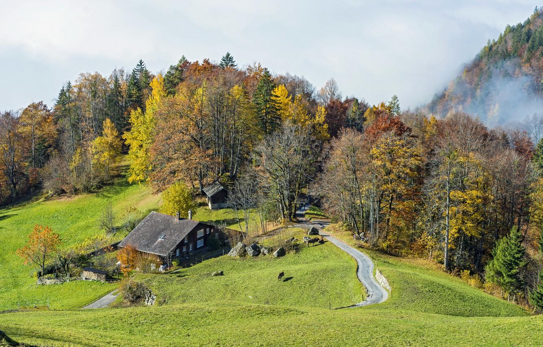 Обои Облака, hasliberg, швейцария, осень. Пейзажи foto 8