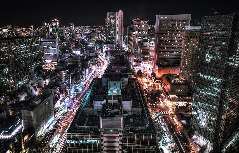 Фото обои дорога, огни, небоскребы, неон, Япония, архитектура, Осака