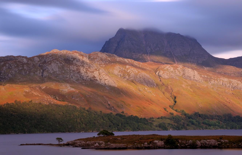 Фото обои небо, деревья, горы, природа, озеро, вечер, Шотландия, Великобритания, Scotland, Great Britain
