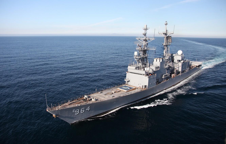 Фото обои Tomahawk, destroyer, Spruance-class destroyer, US Navy, Mark 36 SRBOC, ASROC, 54 calibre Mark 45 dual …