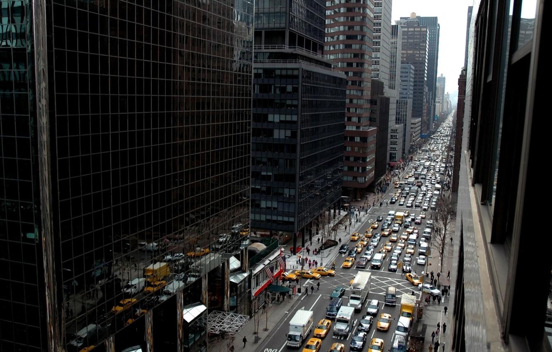 Фото обои машины, здания, new york city