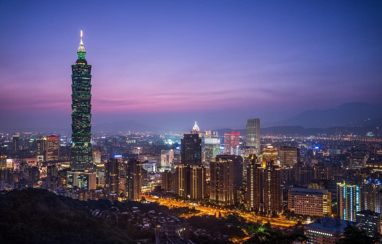 Фото обои небо, ночь, город, огни, вид, здания, башня, высота, дома, освещение, панорама, Китай, Тайвань, Тайбэй, фиолетовое, …