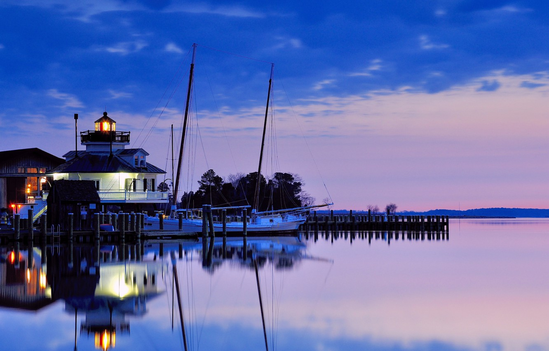 Фото обои небо, вода, облака, закат, отражение, маяк, вечер, залив, США, синее, сиреневое, штат Мэриленд