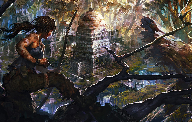 Фото обои девушка, игры, арт, lara croft, tomb raider, upscale, danciao