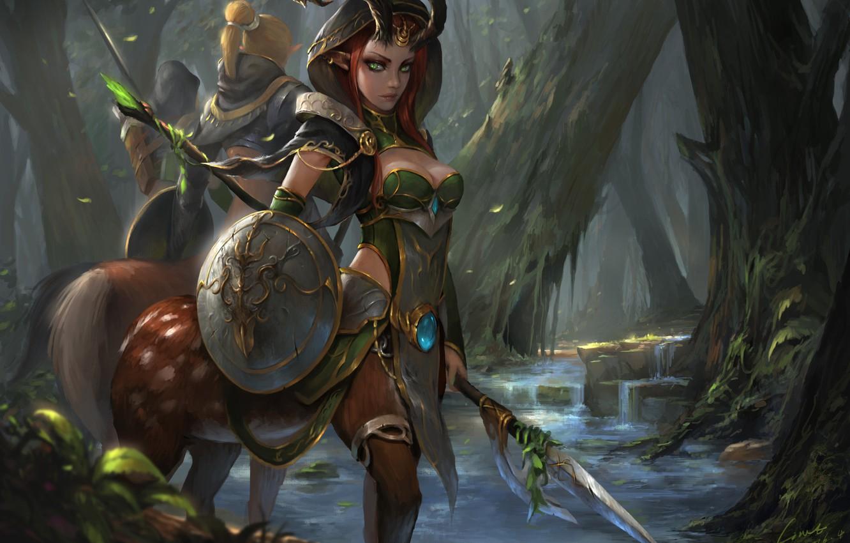 Фото обои лес, взгляд, девушка, деревья, оружие, арт, щит, фэнтази, кентавр