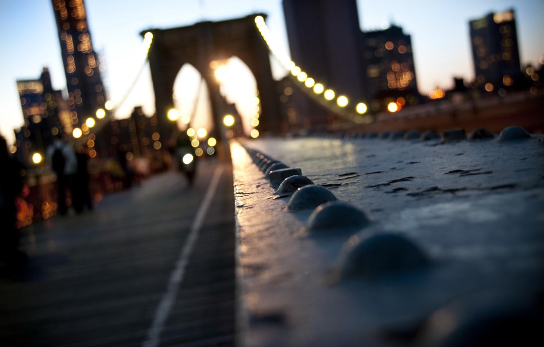 Фото обои город, USA, Bridge, Brooklyn, New York, Manhattan, нью йорк, боке, New, York