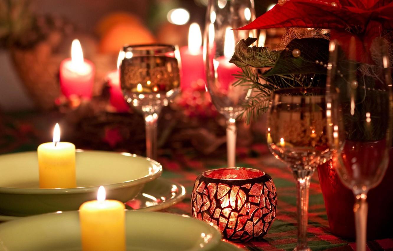 Обои тарелка, стол, свечи. Разное foto 12
