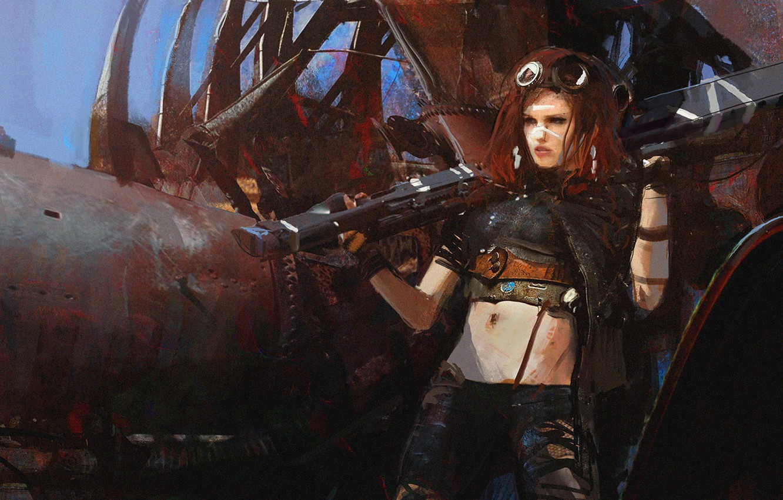 Фото обои девушка, оружие, рыжая, fan art, mad max