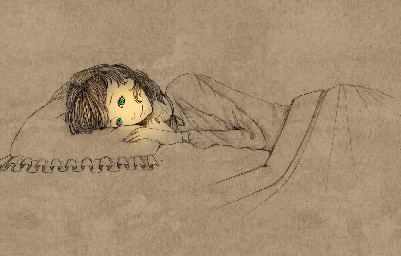 Фото обои свет, настроение, вечер, арт, девочка, перед сном