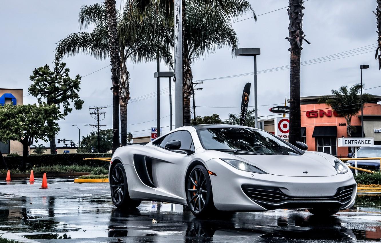 Фото обои McLaren, Суперкар, MP4-12C, Rain, Supercar
