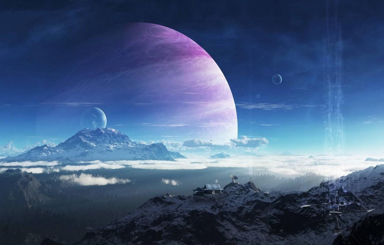 Фото обои небо, облака, горы, дом, здание, Планета