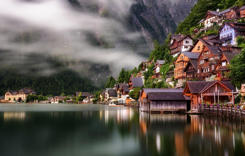 Обои austria, lake hallstatt, гальштат, hallstatt, австрия, дома. Природа foto 14