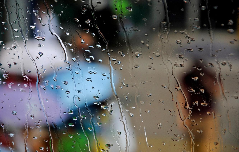 Фото обои осень, стекло, капли, город, люди, дождь, зонтики, зонты