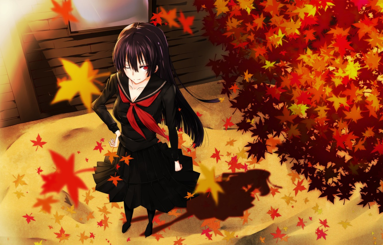 Фото обои осень, листья, девушка, улыбка, ветер, школьница, art, kanoe yuuko, tasogare otome x amnesia, gensouki