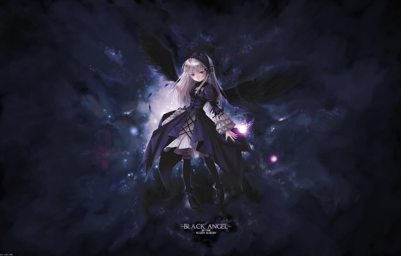 Фото обои крылья, rozen maiden, suigintou, black angel