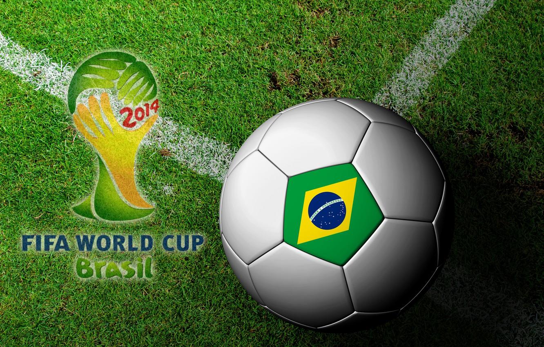 Фото обои футбол, мяч, Бразилия, football, flag, кубок мира, World Cup, Brasil, FIFA, 2014