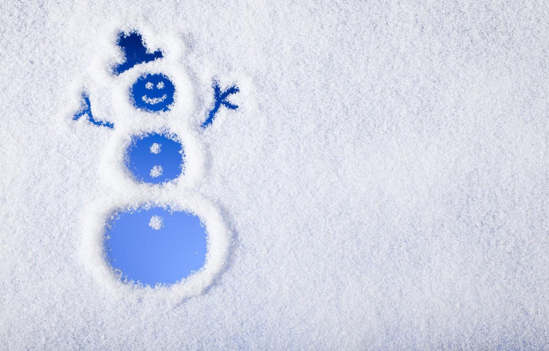 Фото обои зима, снег, снеговик