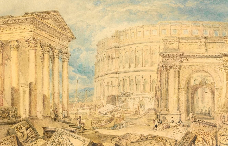 Фото обои картина, развалины, колонны, храм, руины, городской пейзаж, Уильям Тёрнер