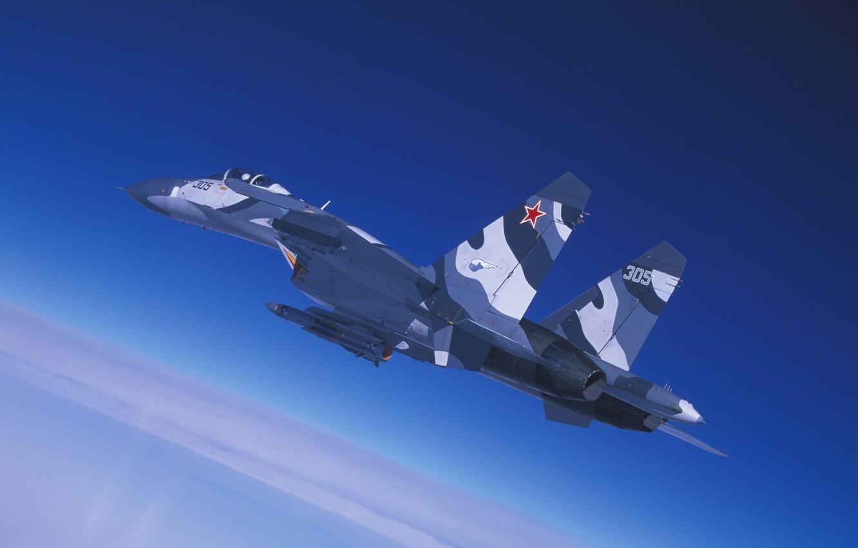 Фото обои небо, полет, истребитель, кабина, Су-27