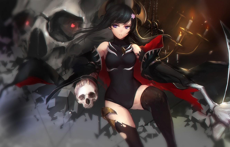 Фото обои девушка, оружие, огонь, череп, свечи, аниме, арт, рога, shion, swd3e2, rinkou no lemuria