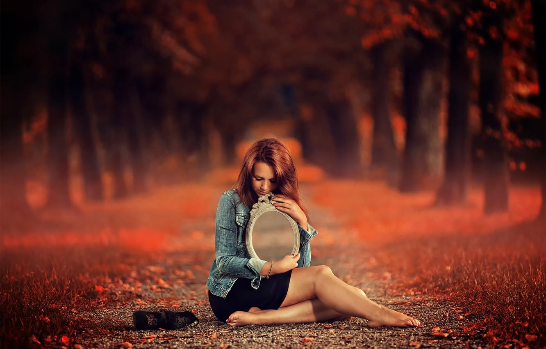 Фото обои осень, девушка, фантазия, тропа, зеркало, арт, аллея