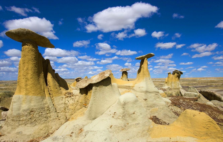 Фото обои небо, облака, камни, скалы