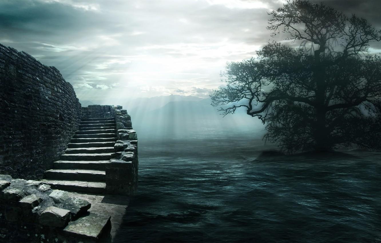 Фото обои вода, облака, свет, камни, дерево, лестница
