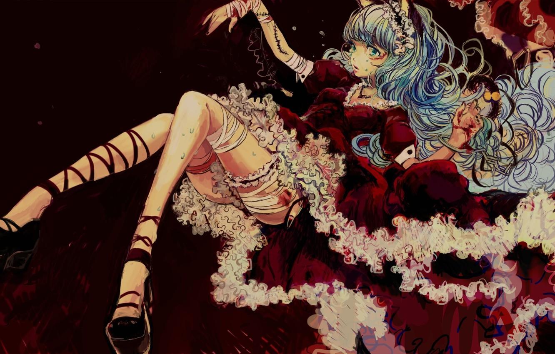 Фото обои девушка, кровь, аниме, арт, шрам, ушки, бинты