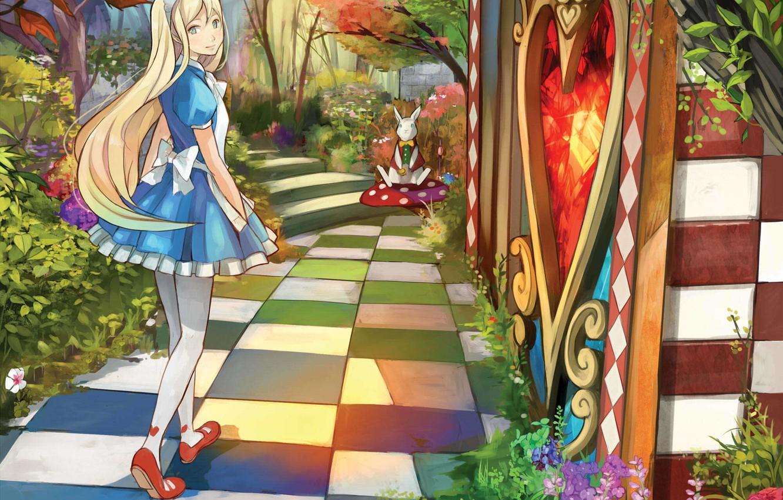 Фото обои девушка, арт, дорожка, алиса в стране чудес, alice, шахматка, белый кролик, shigureteki