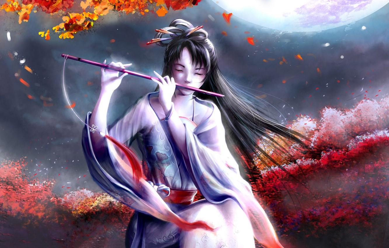 Фото обои цветы, луна, японка, флейта