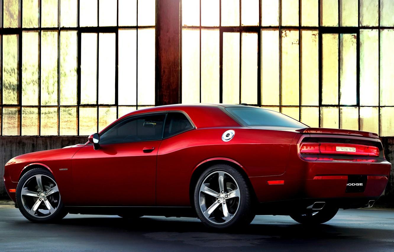 Фото обои Красный, Челенджер, Додж, Dodge, Challenger, Red, Ангар, Car, Автомобиль, Automobile, 2014, Fast, 100th Anniversary