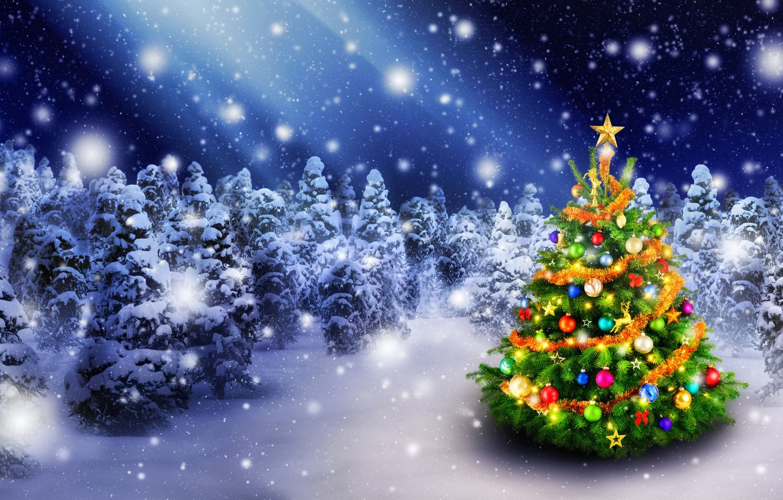 Фото обои Природа, Зима, Снег, Лес, Шарики, Новый год, Елка, Праздник, Christmas, New Year, Гирлянда